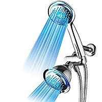 DreamSpa All Chrome - Combo de cabezal de ducha LED de 3 vías con tecnología de boquilla de presión a presión Turbo LED Air Jet. El color de las luces LED cambia automáticamente de acuerdo con la temperatura del agua.