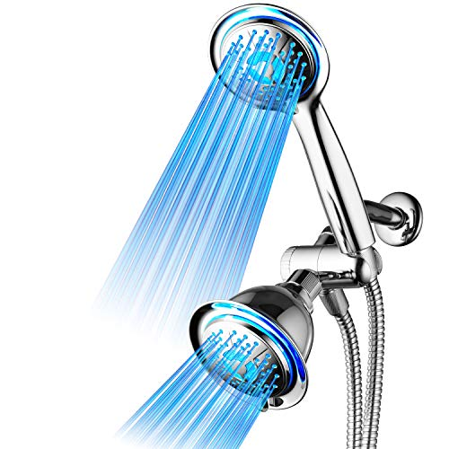 DreamSpa All Chrome 3-way LED Shower Head Combo with Air Jet LED Turbo Pressure-Boost Nozzle Technology. Color of LED lights changes automatically according to water temperature by POWER SPA