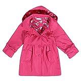 Arshiner Girl Kid Flower Waterproof Hooded Coat Jacket Outwear Raincoat Hoodies Rose Red,110(Age for 3-4Y)