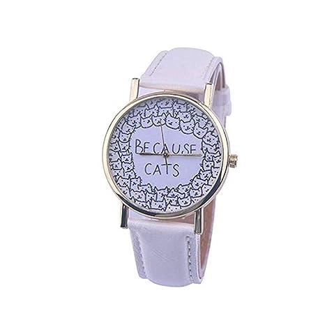 mujeres Relojes, moeavan Womens cuarzo Relojes Cat Pattern, exclusiva Analog Fashion Clearance Lady Relojes