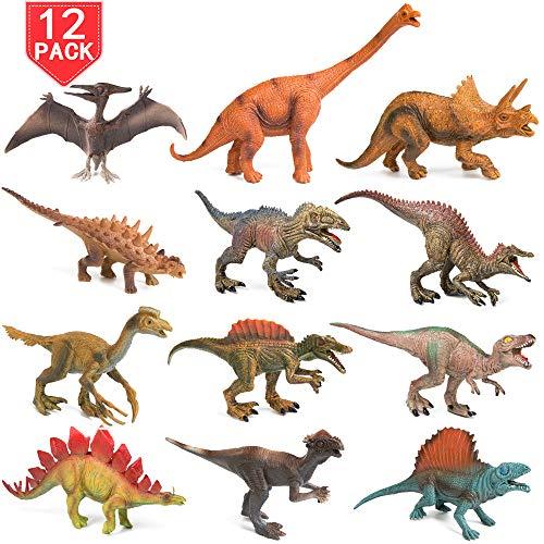 PROLOSO 12 Pcs Dinosaur Toys Realistic Jurassic Park Souvenir Animals Models T-Rex Plastic Figure Playset 7