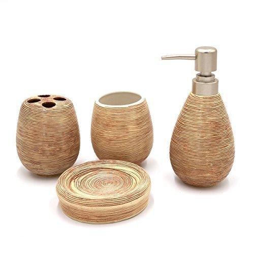 Asien Modern 4 Piece Bathroom Accessories Set Ceramic Soap D