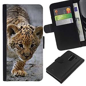 Planetar® Modelo colorido cuero carpeta tirón caso cubierta piel Holster Funda protección Para LG G3 ( Bebé Leopardo Cub Madre Cute Puppy )