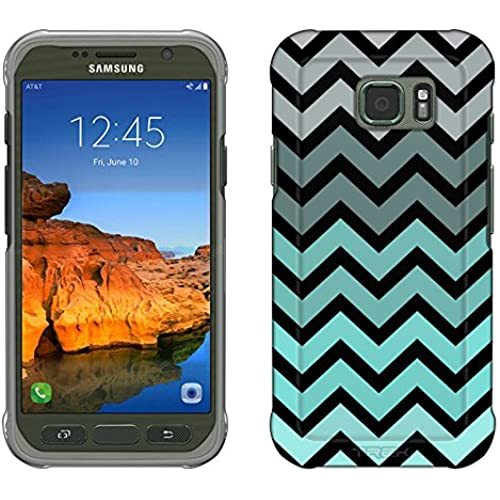 Samsung Galaxy S7 Active Case, Snap On Cover by Trek Chevron Grey Green Turquoise Black Slim Case Sales