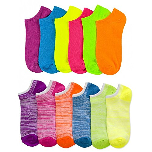 Lot of 12 Women's Ladies No Show Neon Ankle Socks Sports Multi Color Size 9-11 ! (Neon Socks No Show)