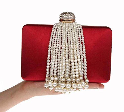 Mini Bag Elegant Hasp Bags Clutch Shoulder Red Tassel Shoulder Prom Handbag New GSHGA Fashion Bag For Girls Red Evening Wedding IzfxwY5q