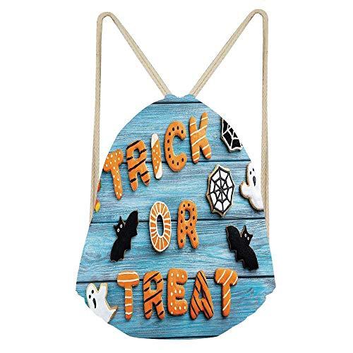 (Trick or Treat Cookie Wooden Table Ghost Bat Web Halloween,Blue Amber Multicolor Gym Sack Bag Drawstring Backpack Sport Bag for Men & Women School Travel)