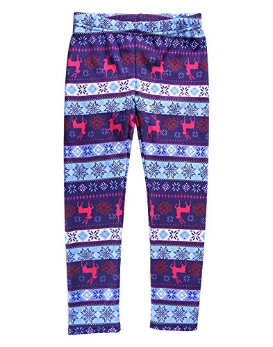 HDE Girls Fleece Winter Knit Leggings Kids Nordic Stretch Pants Footless Tights Blue Purple Reindeer Snowflakes Medium   7 8