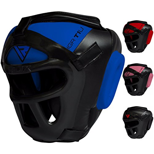 RDX Maya Hide Leather Boxing MMA Protector Headgear UFC Fighting Head Guard Sparring Helmet,Blue,Medium