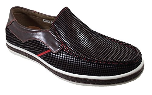 Checker Driving Moccasins Loafers Kaman01