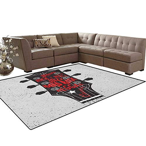 Guitar,Carpet,Hand Drawn Genres Blues Pop Hard Rock Reggae Country Music Illustration,Rugs for Living Room,Vermilion Black White -