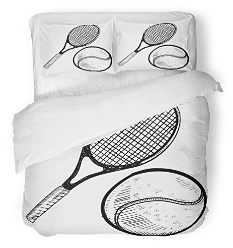 Emvency 3 Piece Duvet Cover Set Brushed Microfiber Fabric Breathable Sketch Doodle Style Tennis Ball and Racket Racquet Champion Competition Doubles Bedding Set with 2 Pillow Covers Twin Size