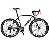 EUROBIKE Road Bike EURXC550 21 Speed 54 cm Frame 700C Wheels Road Bicycle Dual Disc Brake Bicycle Black-White 60 Review