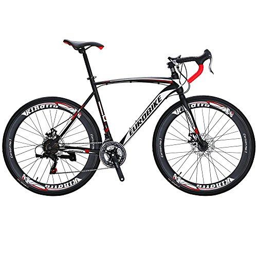 Eurobike Road Bike EURXC550 21 Speed 54 cm Frame 700C Wheels Road Bicycle Dual Disc Brake Bicycle Black-White -