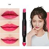 Hunputa Lipstick,Korean Dual Ended Long Lasting Waterproof Lip Pencil Jelly Lip Pen Moisturizing Matte Lipstick Lip Gloss Beauty Makeup Tool (C)