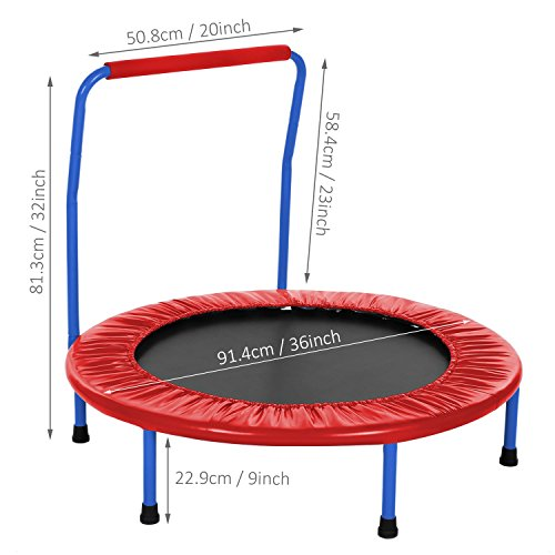 Mini Foldable Portable Durable Exercise Trampoline with Padded Frame Cover Handrai for Kids(US STOCK) (Red)