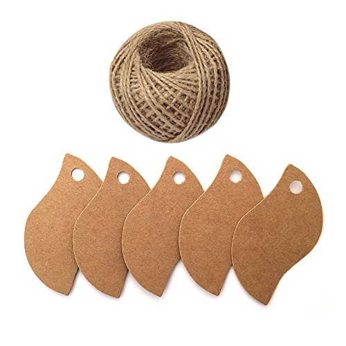 100 PCS Kraft Paper Gift Tags Leaf Shaped Brown Hang Labels with 100 Feet Natural Jute Twine Perfect for DIY Arts and Crafts, Wedding Christmas Thanksgiving and Holiday