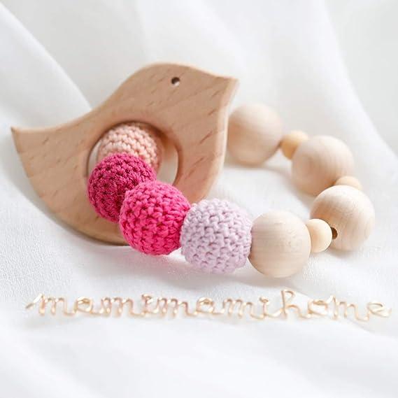 Mamimami Home 2PC del bebé mordedores de madera Caja de juguetes para la dentición del traqueteo de los granos anillo de madera del regalo del bebé ...