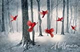 Cardinal / Snowy Forest Fabric Panel - Call of the