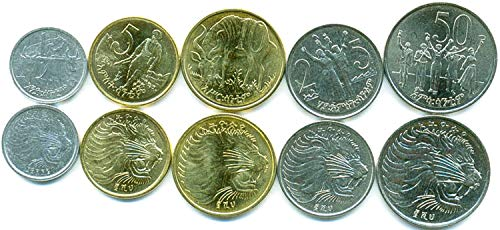- Ethiopia 5 UNC Coins Set 1-50 Cents Old Collectible Coins