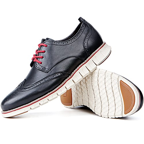 Laoks Men's Brogues Oxford Wingtip Genuine Leather Dress Shoes for Business Casual Lace-up (Black) by Laoks (Image #5)