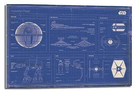 Star Wars Imperial Flota Blueprint Póster De Flotador montado – 90 x 60 cms (Aprox