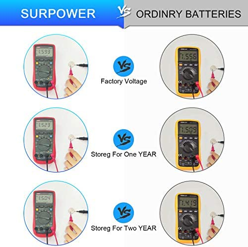 【5-Year Warranty】 SURPOWER LR41 1.5V Alkaline Button Cell Battery AG3 392 Batteries for Digital Thermometer-20 Pack