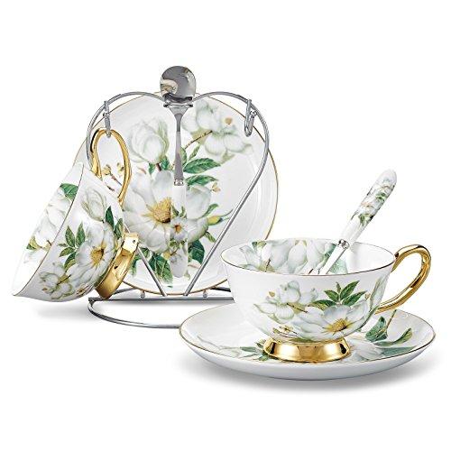 Panbado, Porcelana de Hueso Taza y platillo de Arte Porcelana de te Taza de cafe,Pintura Flores con 2 Piezas de Tazas, 2 Piezas Placas, 2 Piezas Cucharas, 1 Piezas Portavasos