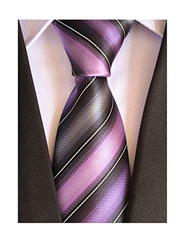 Men's Purple Grey Black Tie Business Designer Wedding Necktie Gifts for Grooms