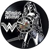 Wonder Woman DC Comics Vinyl Record Wall Clock - Get unique kitchen, bedroom wall art décor - Gift ideas for teen, girl – Unique comic art design Incredible Art - LEAVE A FEEDBACK AND WIN A CLOCK