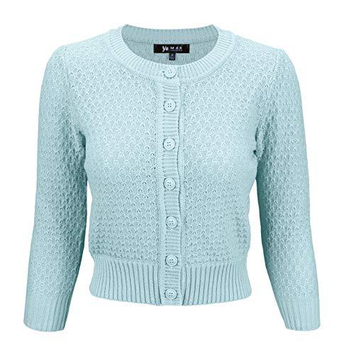 (YEMAK Women's 3/4 Sleeve Crewneck Cropped Button Down Knit Cardigan Sweater MK3514-LBL-M Light Blue)