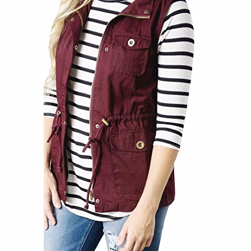 Besooly Women Waistcoat Lightweight Sleeveless Coats Stretchy Drawstring Jacket Vest with Zipper Autumn ()