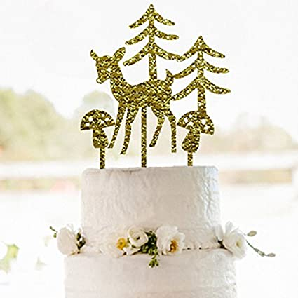 glitter gold merry christmas cake topperthe christmas tree and the elk cake topper - Christmas Cake Decorations Amazon