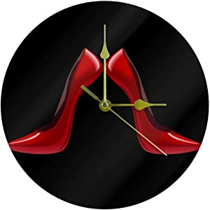 10 Inch Round Wall Clock Silent Non-Ticking - Battery Operated, Wall Decor for The Kitchen,Living Room,Bedroom,or Office,Bright Red Shoes High Heels