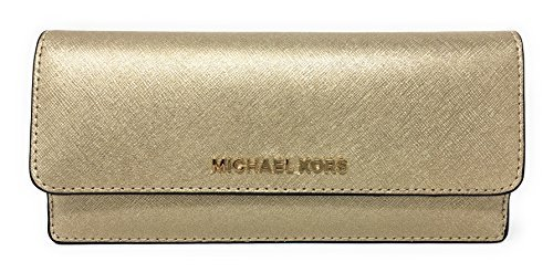 Michael Kors Jet Set Travel Flat Saffiano Leather Wallet (Pale Gold)