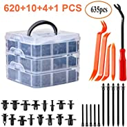 635Pcs Car Retainer Clips & Plastic Fasteners Kit, Auto Car Body Clips With Car Trim Removal Tool ,16 Size