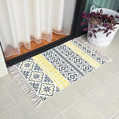 Ukeler Cotton Printed Kilim Kitchen Rugs Hand Woven Yellow Triangle Accent Throw Rug For Bathroom Laundry Room Bedroom 23 6 X 51 2 Home Kitchen