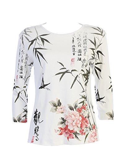 Jess N Jane Calligraphy 100% Women's Cotton Crewneck Babyrib Top In White 14-1192 (2X)