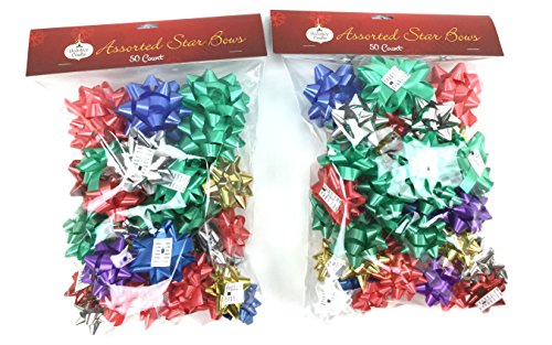 Holiday Crafts (TM) 100 Ct Assorted Star Bows - Assorted Colors and Sizes (Assorted, - Assorted Bows