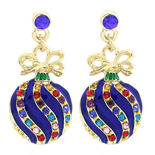 SoulBreeze Happy Colorful Christmas Tree Ornaments Earrings Hoop Dangle Drop Style (Ornament - Blue)