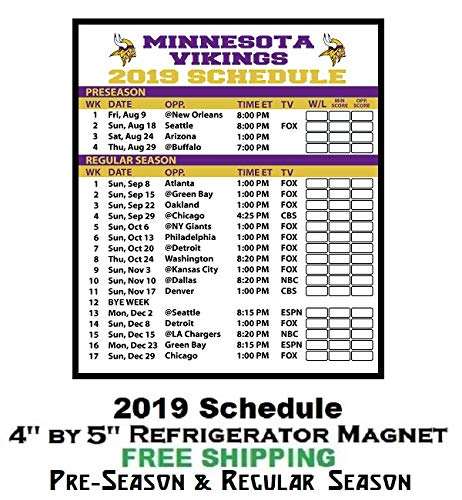 graphic relating to Printable Packer Schedule identify : Minnesota Vikings NFL Soccer 2019 Comprehensive Time