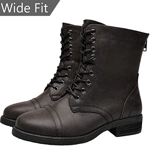 76eebb890e43 Aukusor Women s Wide Width Martin Boots - Low Chunky Heel Casual Side  Zipper Lace up Combat