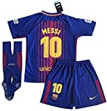 #5: StarSoccer Messi #10 New 2017-2018 FC Barcelona Home Jersey Shorts & Socks For Kids/Youth