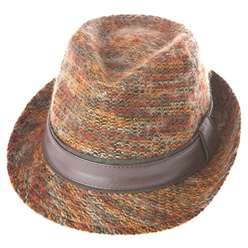 [Classic Multi Knit Style Fedora Trilby w/ Band - Rust Color] (Gangster Hats For Sale)