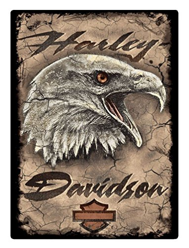 (Harley-Davidson Rugged Eagle Card Embossed Tin Sign, 12.5 x 17 inches 2011391)