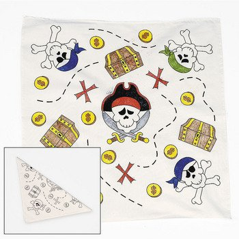 FE Educational Products - Dozen Color Your Own Pirate Bandannas - Includes 12 white pirate map style (Classroom Halloween Games)