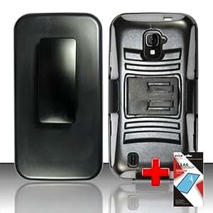 ZTE Majesty Z796c / ZTE Source N9511 (StraightTalk/Cricket) 2 Piece Silicon Soft Skin Hard Plastic Kickstand Case Cover w. Belt Clip Holster, White/Black + SCREEN PROTECTOR