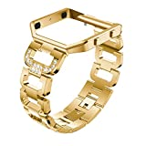 SUKEQ for Fitbit Versa Bling Bands, Stainless Steel D-Links Rhinestones Replacement Strap Adjustable Bracelet Bangle Metal Wristband with Frame for Fitbit Versa Accessories (Gold)
