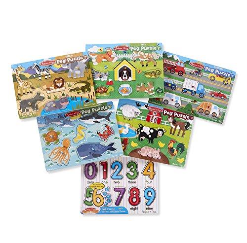 Melissa & Doug Wooden Peg Puzzle (6 Pack)