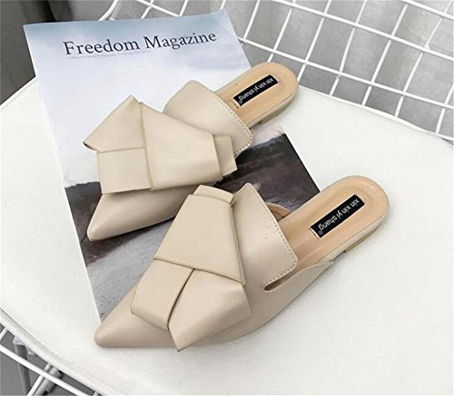 Loafers Sexy Slip Leather Summer Slippers Toe Flat Hallow Woman Slides Beige pit4tk Lady Point Mules On 1H5Ofqxxw